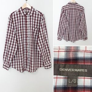 Denver Hayes Navy/Red Plaid Men's Button Down - LG